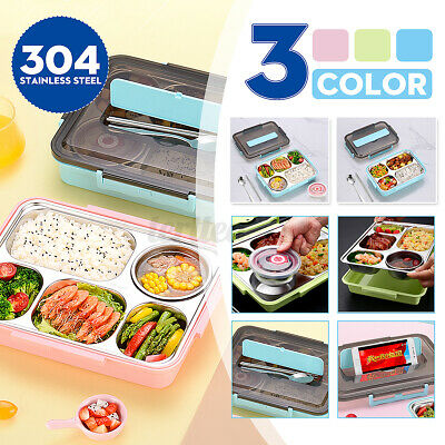 AU16.39 • Buy 4/5Grid Stainless Thermal Insulated Lunch Box Bento Food Picnic Container Women