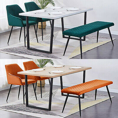 £69.99 • Buy Set Of 2 Velvet/PU Dining Chairs And Long Seat Bench Stool Soft Padded Seat Home