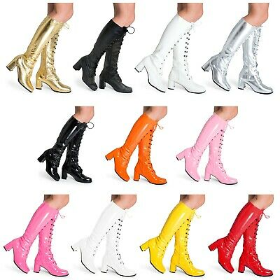 £19.95 • Buy Womens Ladies Mens Eyelet Disco Go Go 60's 70'S Knee High Fancydress Boots