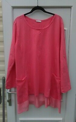 £10 • Buy Lovely Lagenlook Made In Italy Pink Longline  Top Size L
