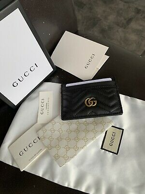 AU175.26 • Buy GUCCI GG Marmont Black Leather Card Holder