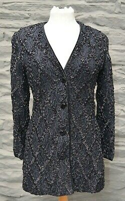 £60 • Buy Caroline Charles Evening Jacket In Black With Sparkle Lace & Ribbon Size 10
