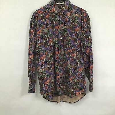 $19.19 • Buy Perry Ellis Mens Multicolor Printed Long Sleeve Casual Button Front Shirt Size M