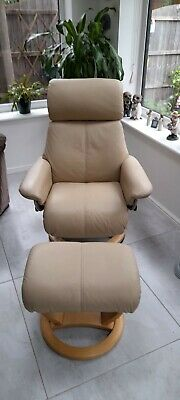 £200 • Buy Recliner Swivel Chair And Foot Stool - Cream