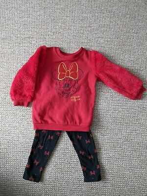 £4.99 • Buy Minnie Mouse Leggings And Jumper Set Age 1.5-2 Years/18-24 Months