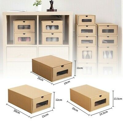 £12.18 • Buy Shoe Organizer Drawer Transparent Plastic Storage Rectangle Thicken Shoes Boxes