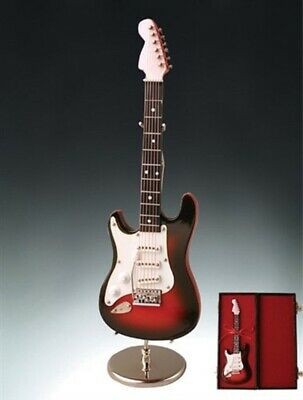 $ CDN31.46 • Buy Dark Brown Electric Guitar With Case And Stand Replica Miniature Figurine 7 Inch