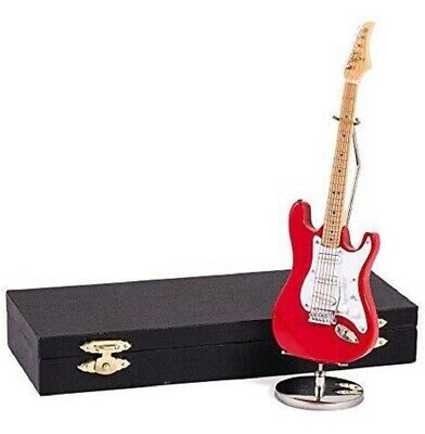 $ CDN31.46 • Buy Red Electric Guitar With Case And Stand Replica Miniature Figurine 7 Inch New