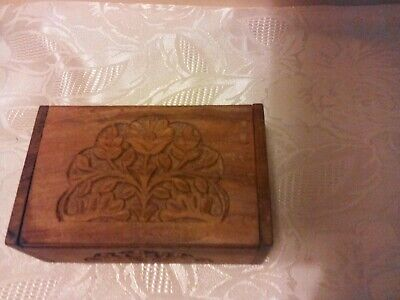 £4 • Buy Hand Carved Wooden Box - Floral