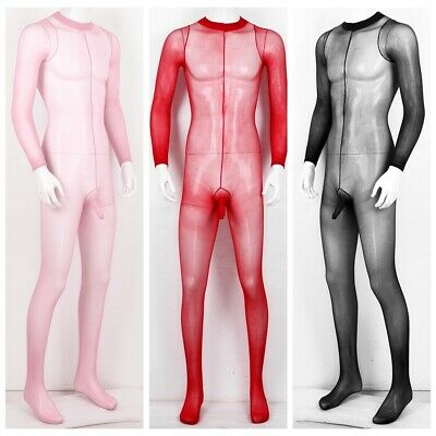 $9.39 • Buy US Sexy Men Nylon Pantyhose Footed Sheer See Through Tights Full Body Stockings