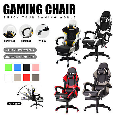 AU139.90 • Buy Computer Gaming Chair Executive Office Racer Recliner Footrest PU Leather Seat