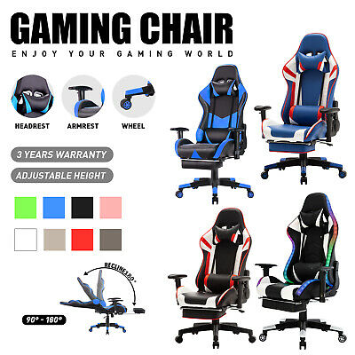 AU159.90 • Buy Executive Computer Gaming Chair Office Racing Footrest Backrest PU Leather Seat