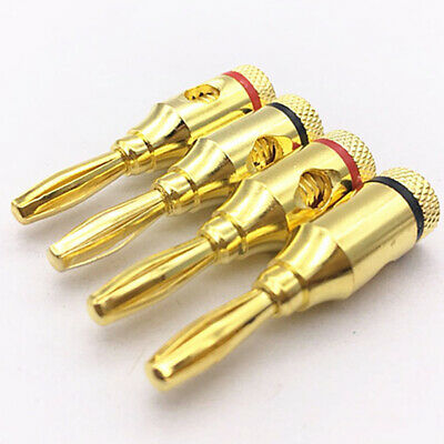 £4.41 • Buy 4 Pcs Banana Plug Audio Speaker Cable Wire Connector Pin Screw Gold Plated Bg