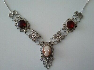£12.99 • Buy Antique Vintage Cameo & Red Stone Filigree Necklace Real Carved Shell, 21  Long