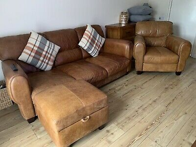 £275 • Buy DFS 3 Piece Suite 3 Seater Sofa 1 Armchair 1 Storage Footstool Tan Leather