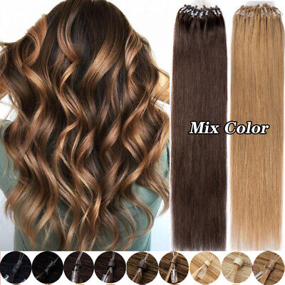 £24.60 • Buy 100% Remy Human Hair Micro Loop Nano Ring Beads Tip Hair Extensions Thick 0.5g/s