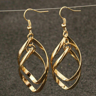 £6.99 • Buy ❤️Earrings 9ct Gold Finish Drop Spiral ❤️ 65 Mm Mother Birthday Gift Silver ❤️