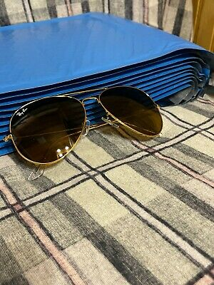 AU0.80 • Buy Ray-Ban Aviator Sunglasses RB3026 62mm 001/33 Gold Frame With Brown Lenses