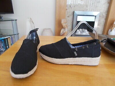 £9.99 • Buy Skechers Bobs Womens Black Canvas Shoes Size 5