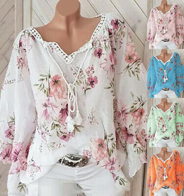 £10.29 • Buy Womens Plus Size V-Neck Floral Print Tops Shirt Ladies Long Sleeve Casual Blouse