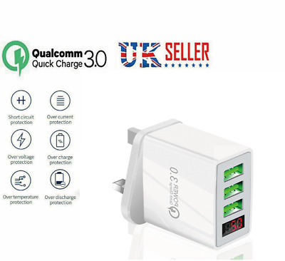 £3.77 • Buy 3 Multi-Port Fast Quick Charge QC 3.0 USB HUB Mains Wall Charger Adapter UK Plug