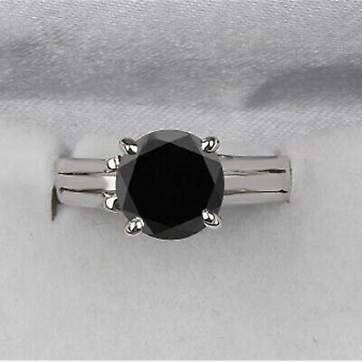 AU199.99 • Buy 925 Sterling Silver & Round Cut 4.70Ct Natural Jet Black Diamond Solitaire Ring