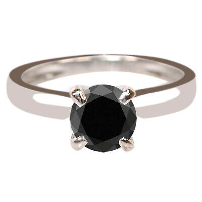 AU124.99 • Buy Natural Jet Black Diamond 3.10Ct Round Cut Solitaire Women's Ring In 925 Silver