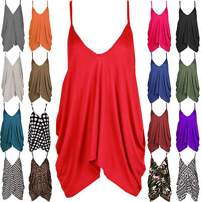 £4.95 • Buy Womens Romper Vest Top Ladies Plus Size Oversized V-neck Baggy Cami Strappy Tops