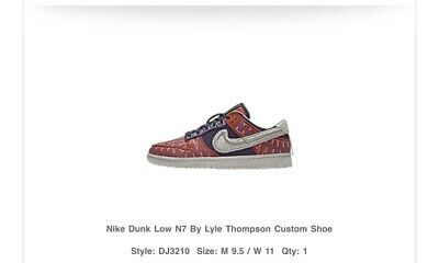$ CDN309.64 • Buy Nike Dunk Low N7 By Lyle Thompson Size 9.5 Mens. Order Confirmed