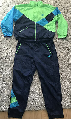 £70.39 • Buy Vintage Nike Sport Champ Navy Green Shell Suit Top Jacket Tracksuit L 90's 80