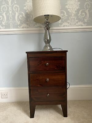 £9.99 • Buy 2 Teak Natural Wood Bedside Cabinets Stained Dark Brown 3 Drawers Cupboards Good