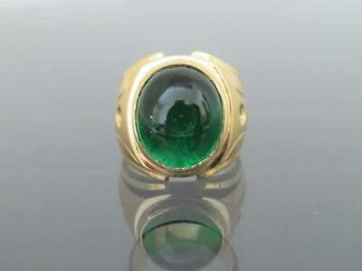 $122.64 • Buy Vintage 14kt Yellow Gold Over Emerald Cabochon & Diamond Men's Ring Size 7 To 12