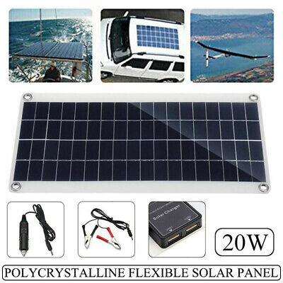 £19.99 • Buy 12V 20W Flexible Solar Panel USB Battery Cell Phone Charger For Car Boat Tool Uk