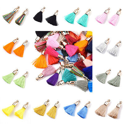 $11.57 • Buy 100Pcs Polyester Tassel Pendant Decorations With CCB Plastic Findings 25~30x6mm
