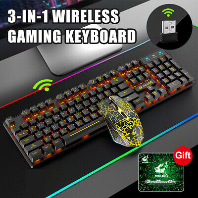 AU47.46 • Buy 3in1 Wireless 2.4G Gaming Keyboard Mouse RGB Backlit Rechargeable For PC Laptop