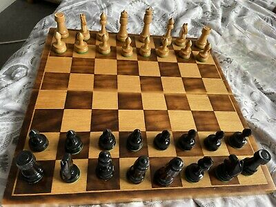 £9.50 • Buy Wooden Chess Set, With Fold Up Board.