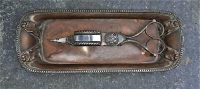 £77.99 • Buy 18th C Sheffield Silver Plate Candle Snuffer & Tray With Raised Ancanthus Leaves