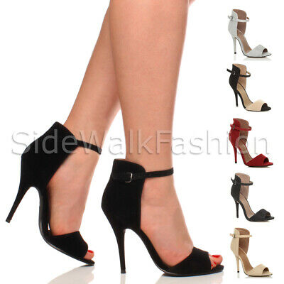 £7.99 • Buy Womens Ladies High Heel Strappy Ankle Cuff Party Evening Sandals Shoes Size