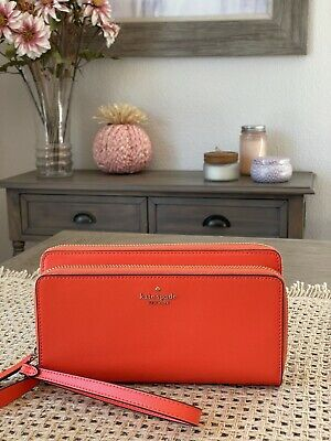 $ CDN119.57 • Buy Kate Spade Payton Large Carryall Wristlet Clutch Wallet Coral Buds Leather $239