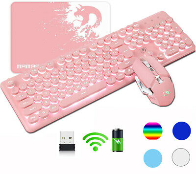 AU65.04 • Buy Wireless Gaming Keyboard Mouse And Mat Set Rechargeable LED Backlit For PC PS4