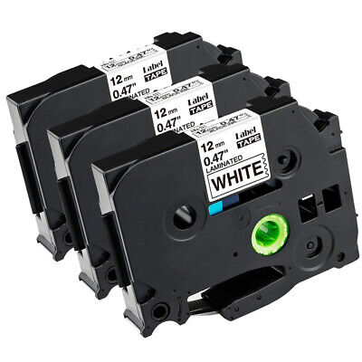 £7.43 • Buy 3 Pk Compatible TZe231 Black On White 12mm Label Tape For Brother P-touch PT1000