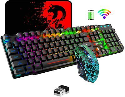 AU55.89 • Buy Wireless Gaming Keyboard Mouse RGB Backlit Rechargeable For PC Laptop Computer
