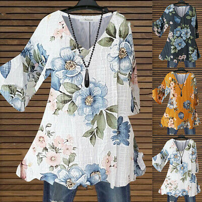 £9.99 • Buy Plus Size Womens V-Neck Floral Print Tunic Tops Shirt Ladies Casual Loose Blouse