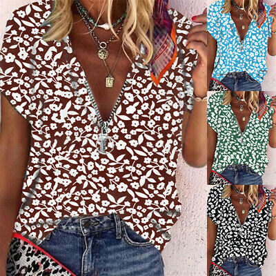 £8.59 • Buy Plus Size Womens V-Neck Zip Floral Print Tops Shirt Summer Casual Loose Blouse
