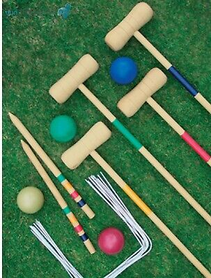 £31.34 • Buy Crystals Traditional Garden Wooden Mallet Balls 4 Player Croquet Game Set For By