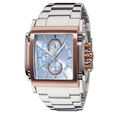 £179 • Buy YVES CAMANI ESCAUT Mens Watch Stainless Steel Rosegold Blue Chronograph New