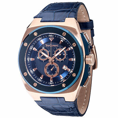 £119 • Buy YVES CAMANI Quentin Mens Watch Stainless Steel Blue Rosegold Chronograph New