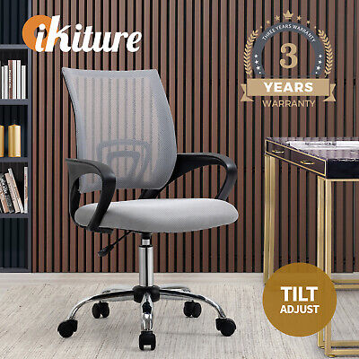 AU69.90 • Buy Oikiture Office Chair Computer Chairs Gaming Mesh Backrest Foam Seat Grey