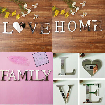 £2.40 • Buy 4 Letters Love Home Furniture Mirror Tiles Wall Sticker Self-Adhesive Art Decor