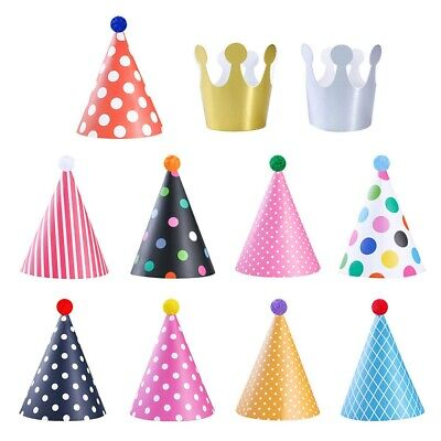 £4.09 • Buy Multicoloured Paper Party Hats Cone Hat Crown Hat Birthday Dress Up Kids Fun NEW